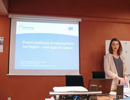 Elena Kolosova presenting at the BSR WATER Kick-off.