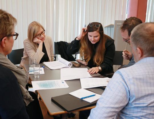 Group work with partners from Helsinki and Berlin.
